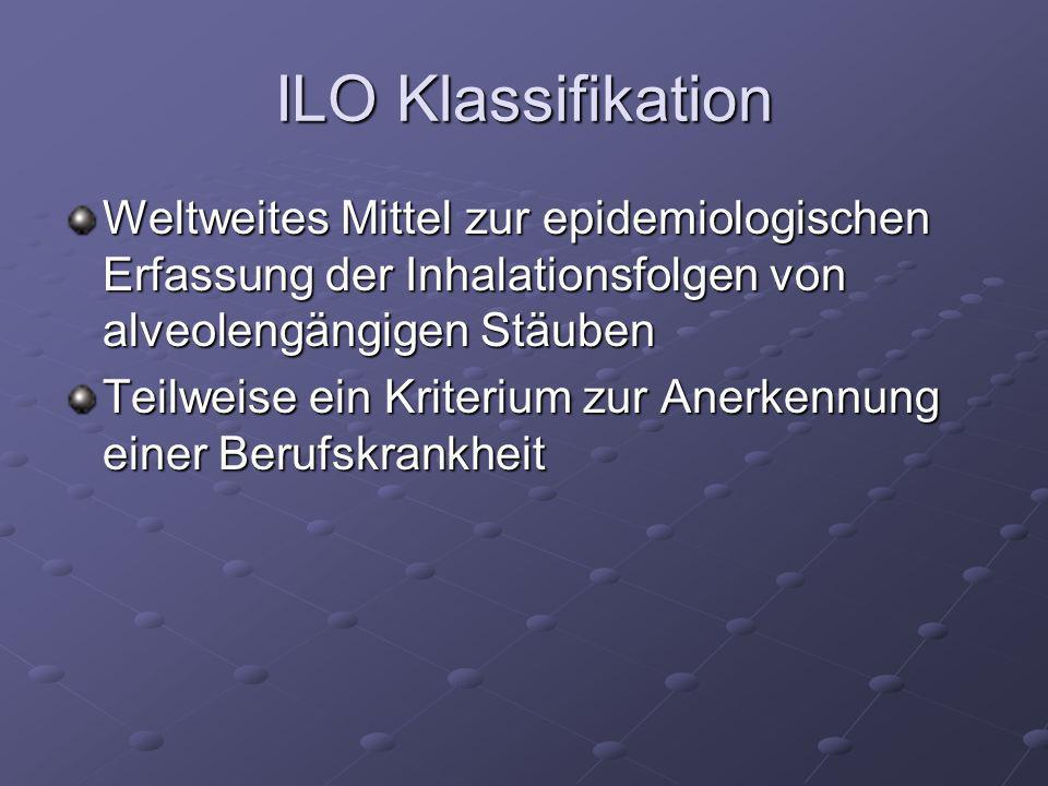 ILO Klassifikation Weltweites Mittel zur epidemiologischen Erfassung der Inhalationsfolgen von alveolengängigen Stäuben.