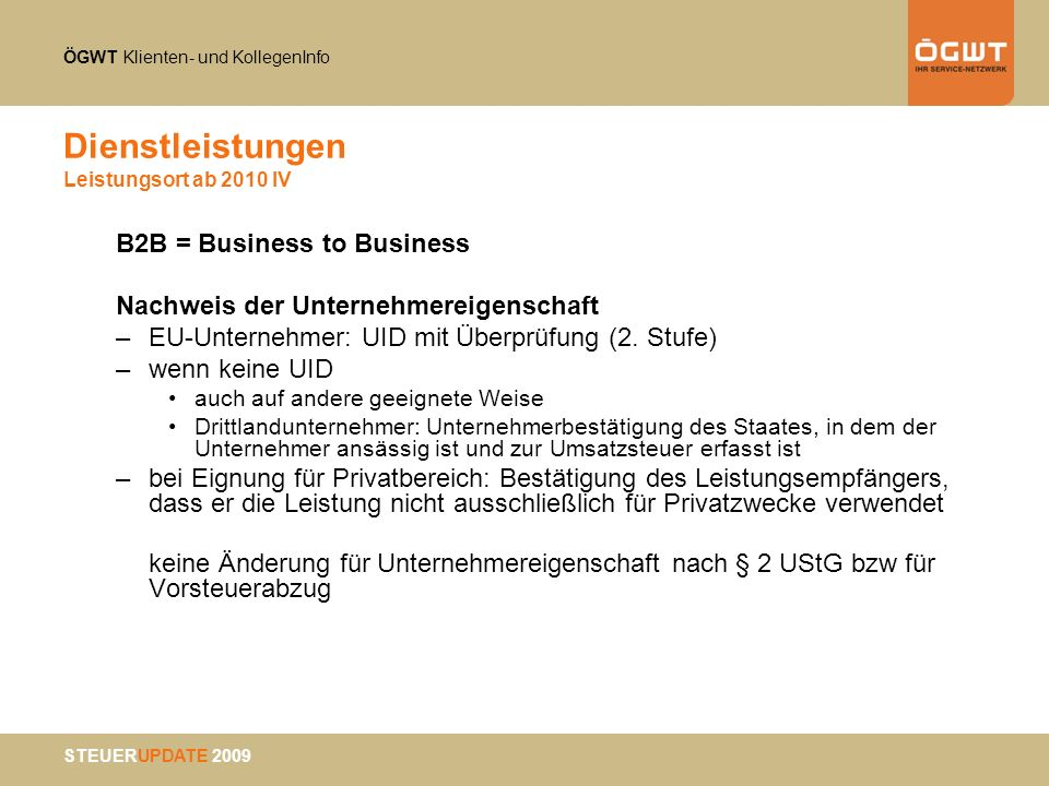 Dienstleistungen Leistungsort ab 2010 IV