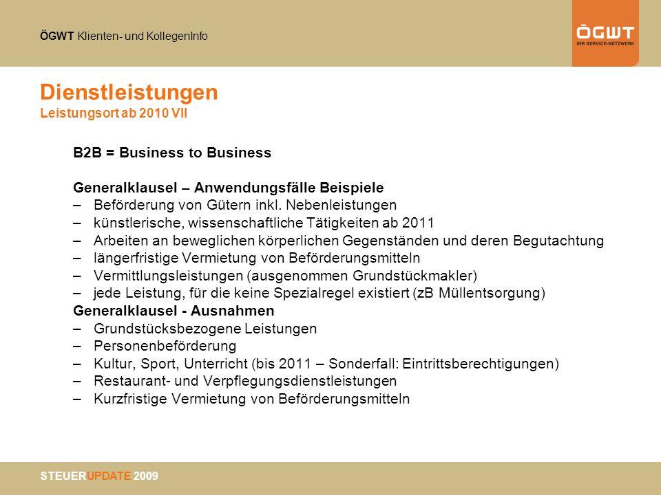 Dienstleistungen Leistungsort ab 2010 VII