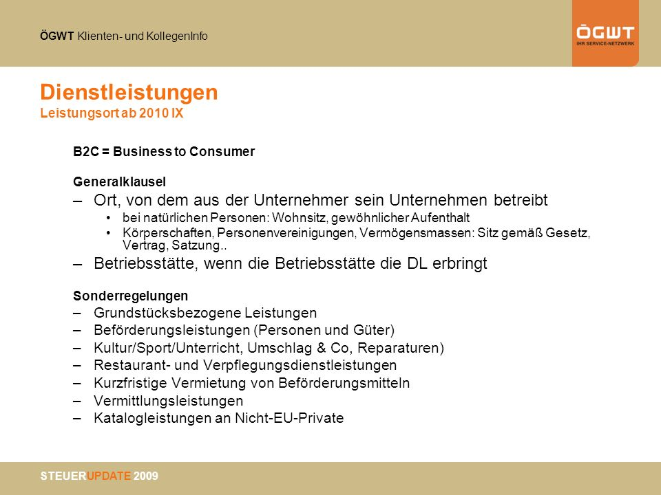 Dienstleistungen Leistungsort ab 2010 IX