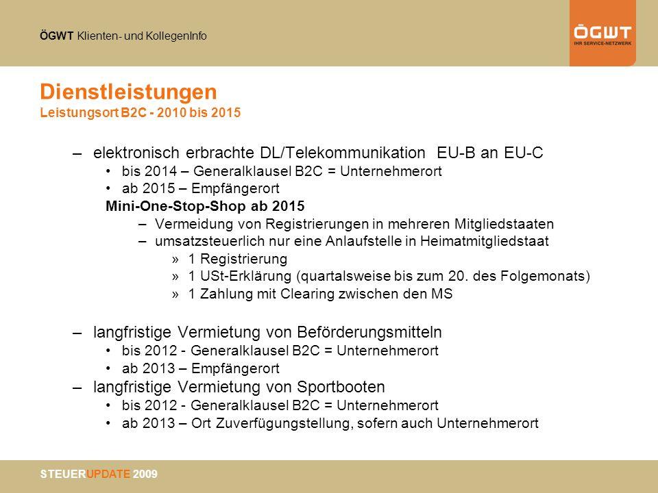 Dienstleistungen Leistungsort B2C - 2010 bis 2015