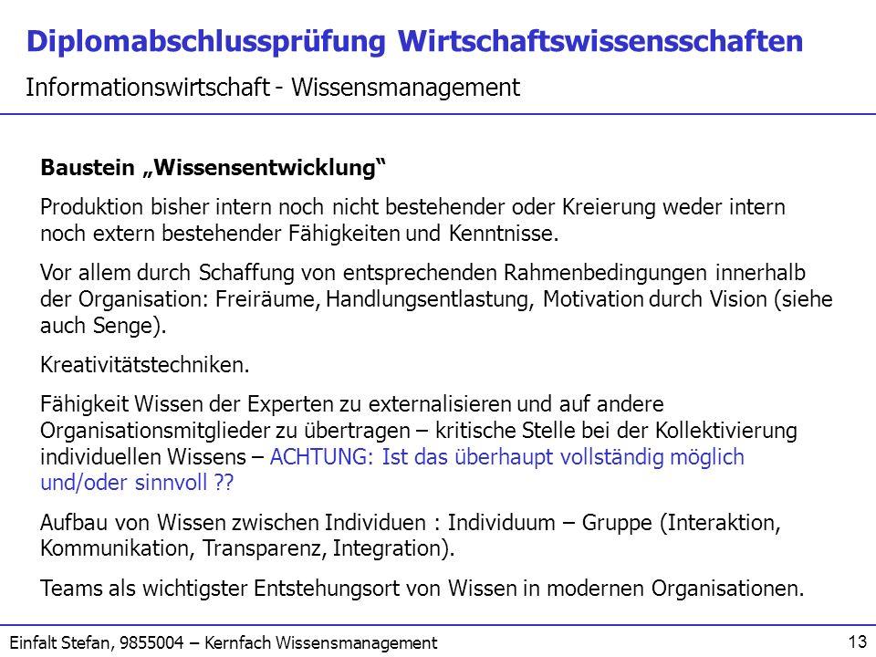 """Baustein """"Wissensentwicklung"""