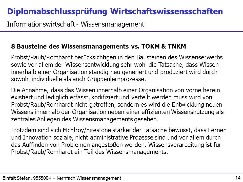 8 Bausteine des Wissensmanagements vs. TOKM & TNKM