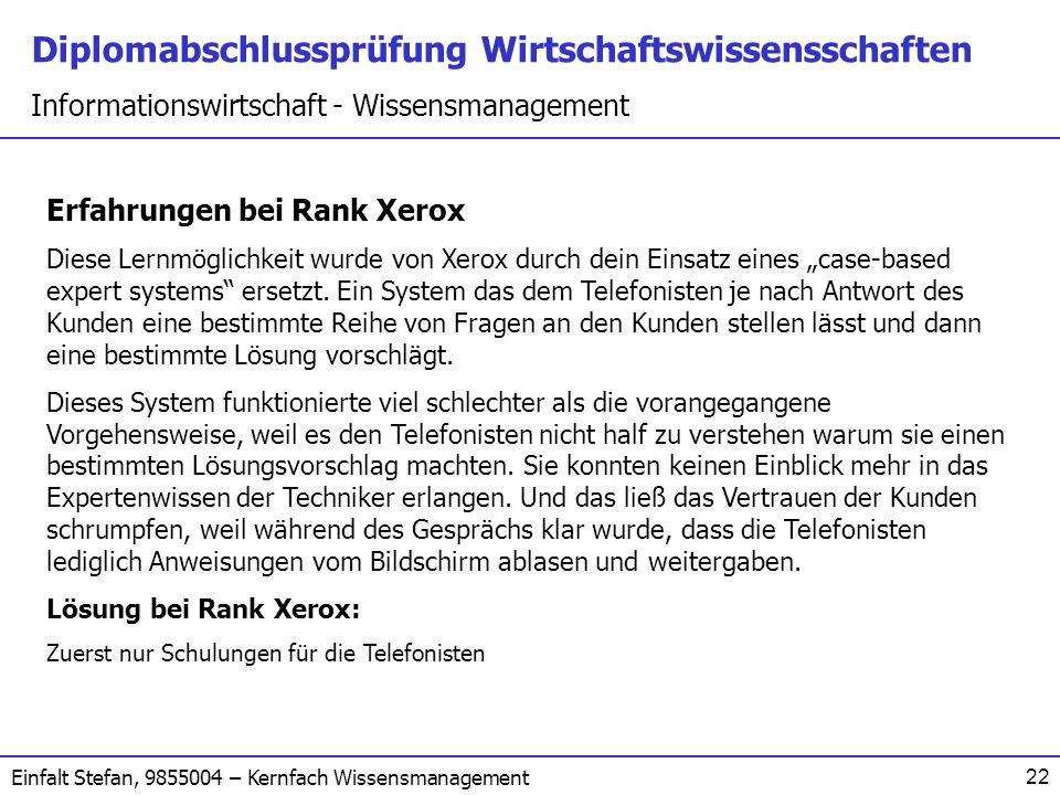 Erfahrungen bei Rank Xerox