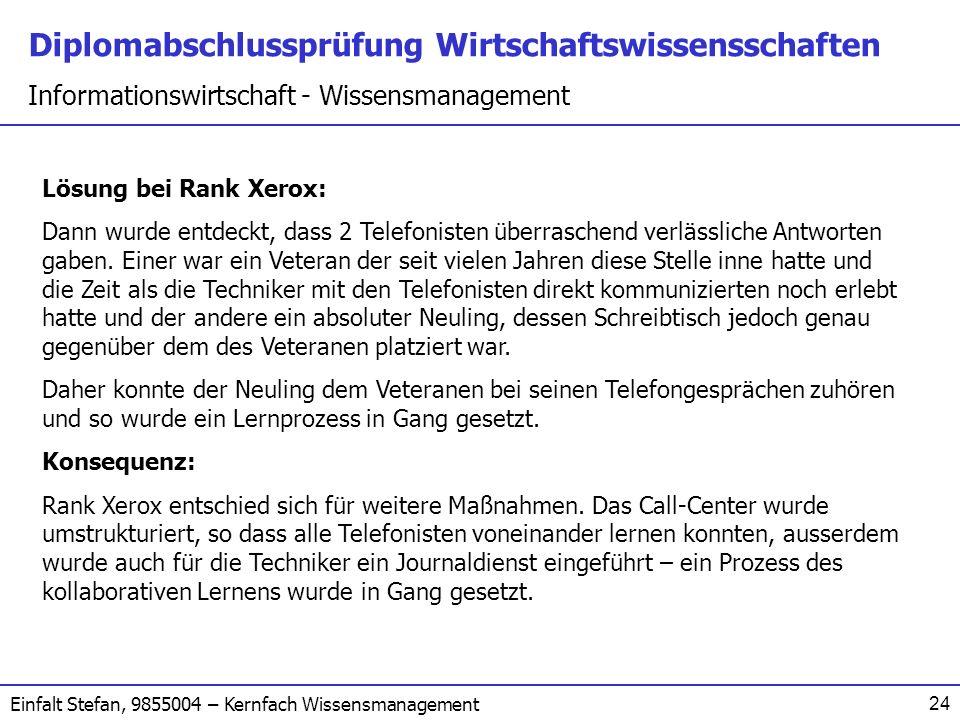 Lösung bei Rank Xerox: