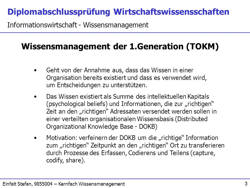 Wissensmanagement der 1.Generation (TOKM)