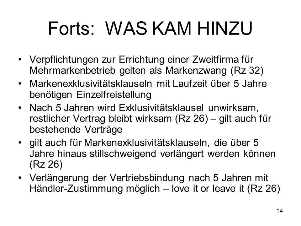 Forts: WAS KAM HINZU Verpflichtungen zur Errichtung einer Zweitfirma für Mehrmarkenbetrieb gelten als Markenzwang (Rz 32)