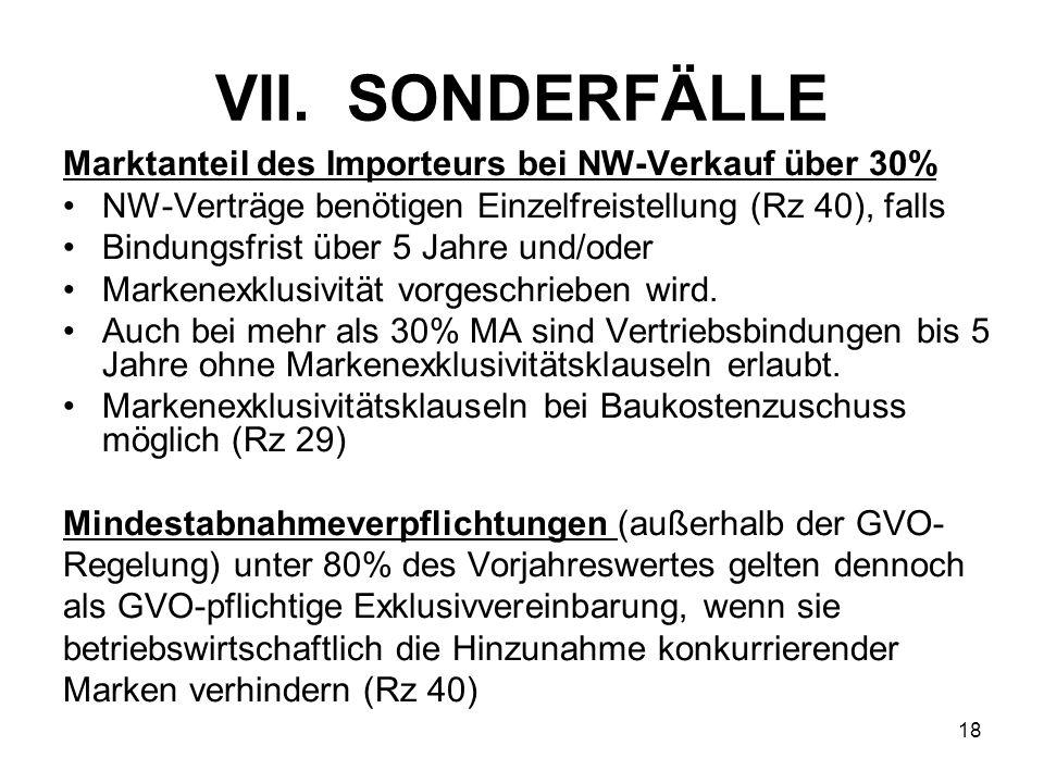 VII. SONDERFÄLLE Marktanteil des Importeurs bei NW-Verkauf über 30%