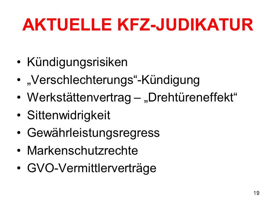 AKTUELLE KFZ-JUDIKATUR