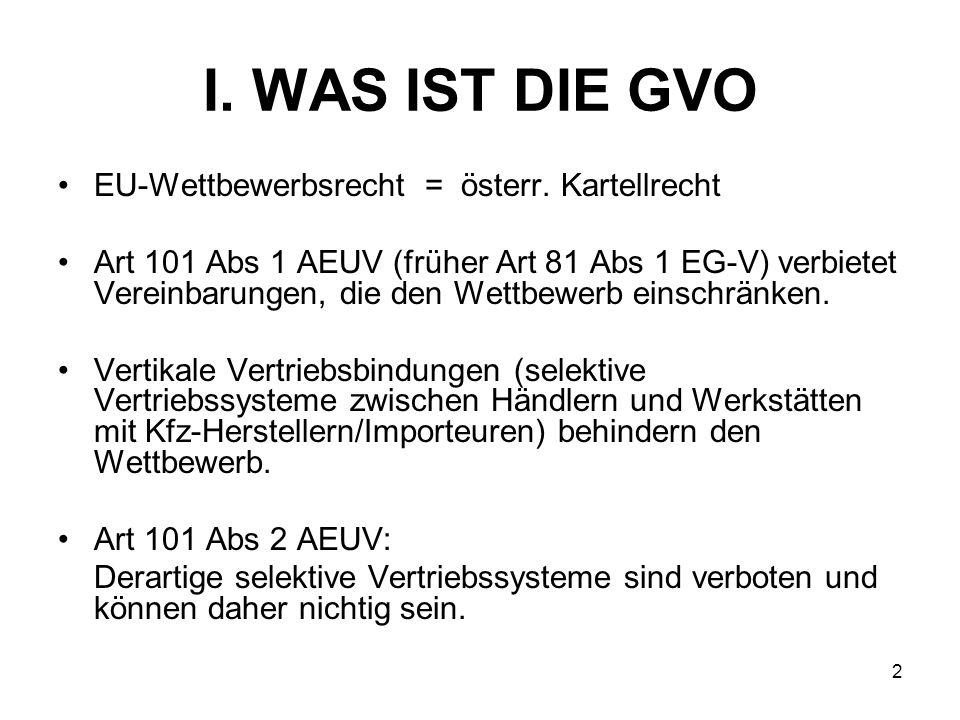 I. WAS IST DIE GVO EU-Wettbewerbsrecht = österr. Kartellrecht