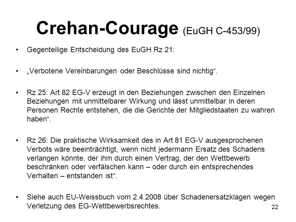 Crehan-Courage (EuGH C-453/99)