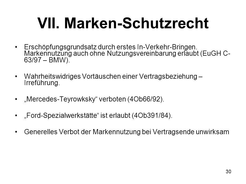 VII. Marken-Schutzrecht