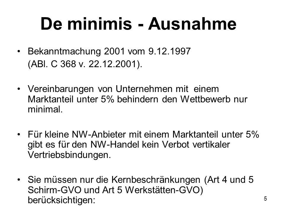 De minimis - Ausnahme Bekanntmachung 2001 vom 9.12.1997