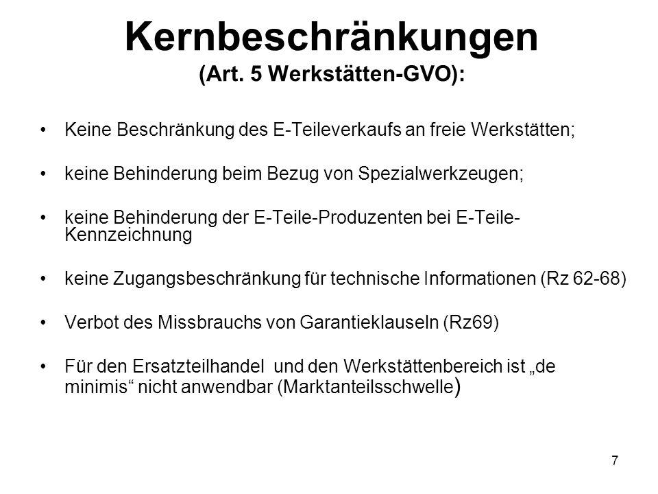Kernbeschränkungen (Art. 5 Werkstätten-GVO):
