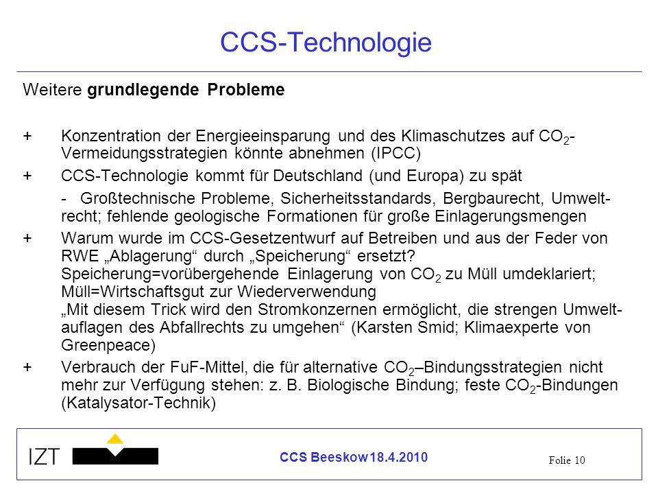 CCS-Technologie Weitere grundlegende Probleme