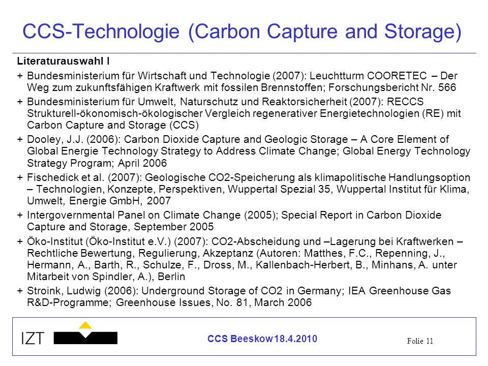 CCS-Technologie (Carbon Capture and Storage)