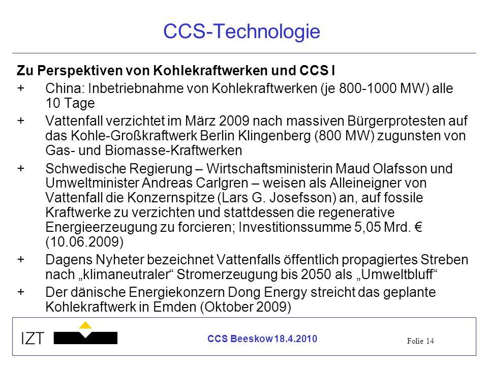 CCS-Technologie Zu Perspektiven von Kohlekraftwerken und CCS I