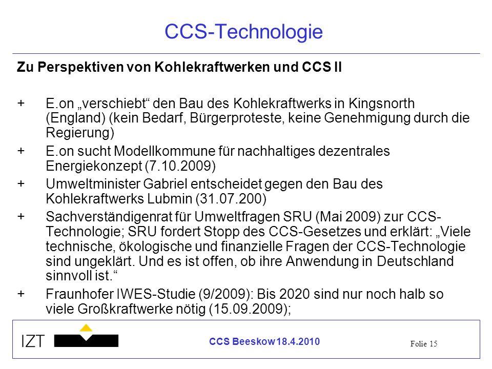 CCS-Technologie Zu Perspektiven von Kohlekraftwerken und CCS II