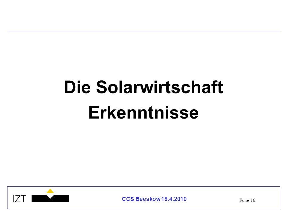 Die Solarwirtschaft Erkenntnisse