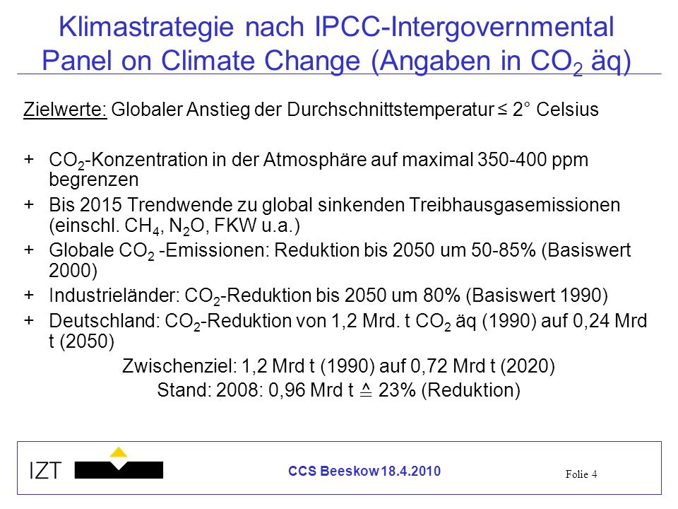 Klimastrategie nach IPCC-Intergovernmental Panel on Climate Change (Angaben in CO2 äq)
