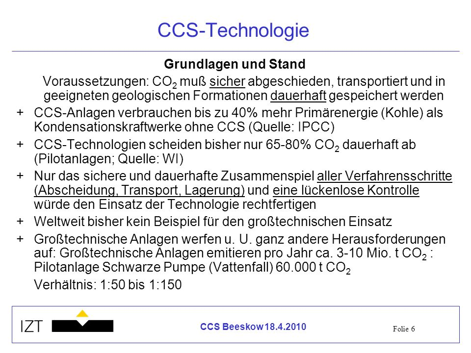 CCS-Technologie Grundlagen und Stand