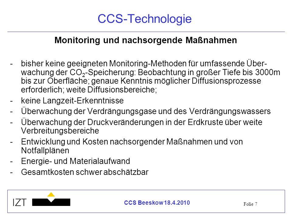 Monitoring und nachsorgende Maßnahmen