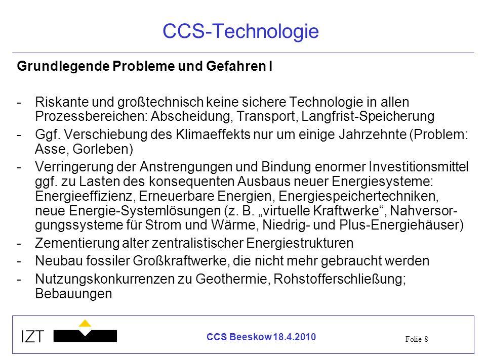 CCS-Technologie Grundlegende Probleme und Gefahren I