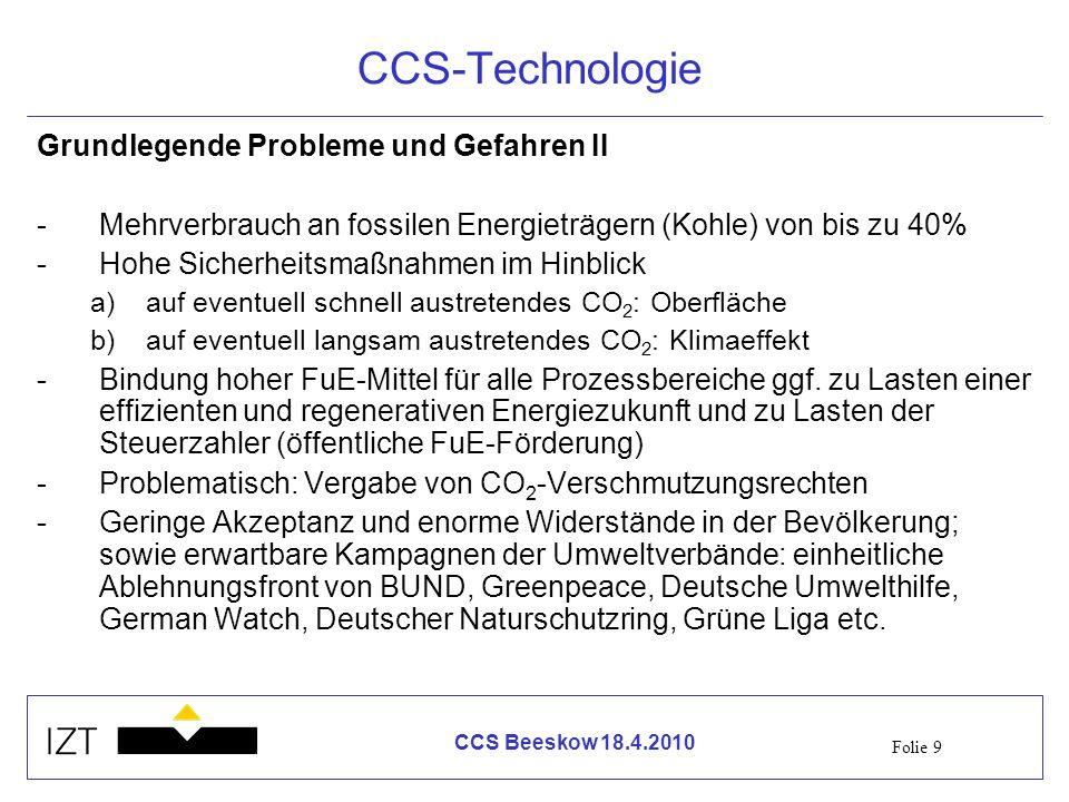 CCS-Technologie Grundlegende Probleme und Gefahren II