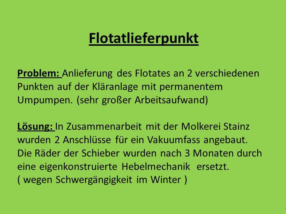 Flotatlieferpunkt Problem: Anlieferung des Flotates an 2 verschiedenen Punkten auf der Kläranlage mit permanentem Umpumpen.