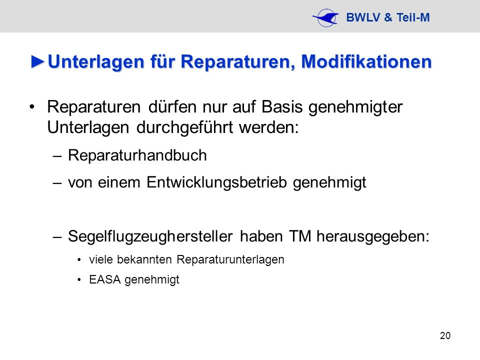 Unterlagen für Reparaturen, Modifikationen