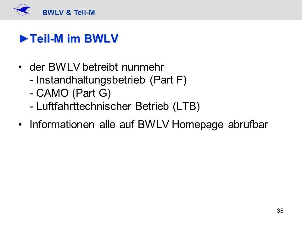 Teil-M im BWLVder BWLV betreibt nunmehr - Instandhaltungsbetrieb (Part F) - CAMO (Part G) - Luftfahrttechnischer Betrieb (LTB)