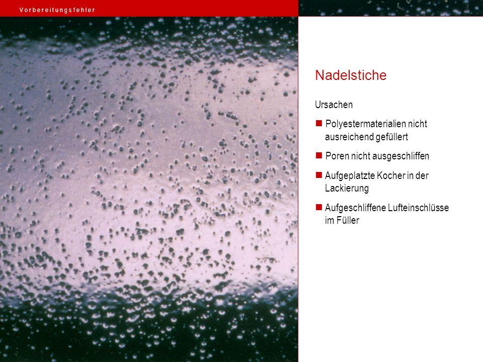 Nadelstiche Ursachen Polyestermaterialien nicht ausreichend gefüllert