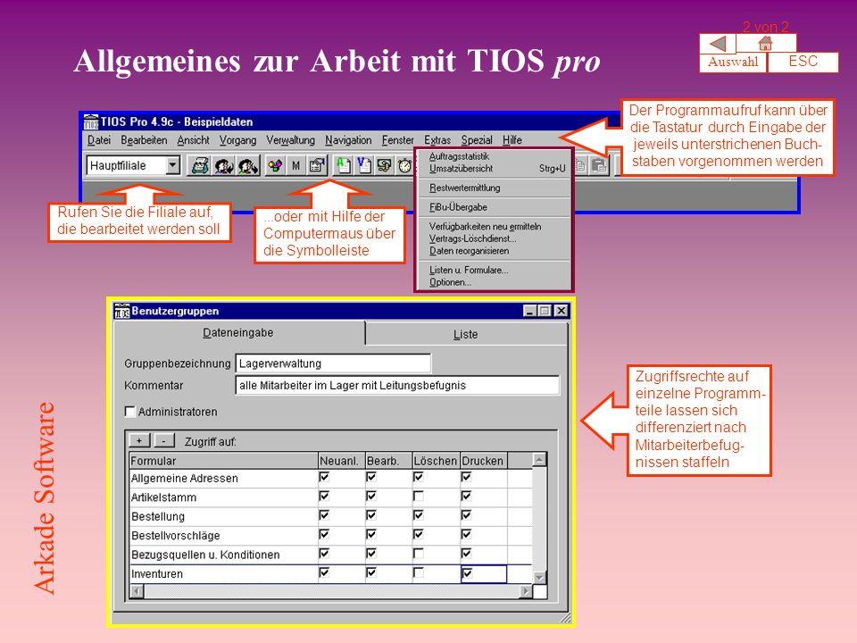 Allgemeines zur Arbeit mit TIOS pro