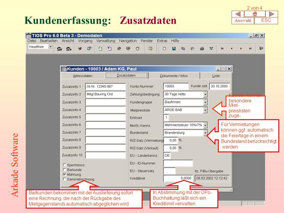 Kundenerfassung: Zusatzdaten