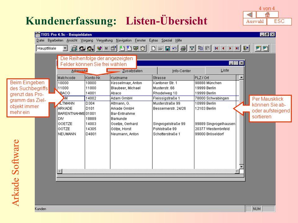 Kundenerfassung: Listen-Übersicht