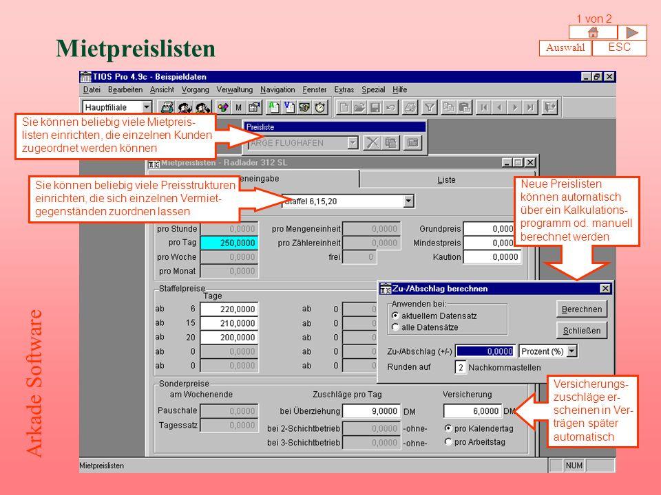 Mietpreislisten Arkade Software 1 von 2 Auswahl ESC