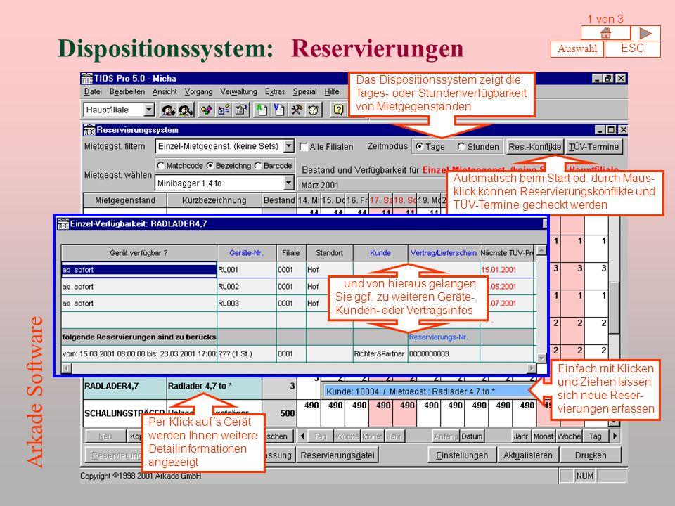 Dispositionssystem: Reservierungen