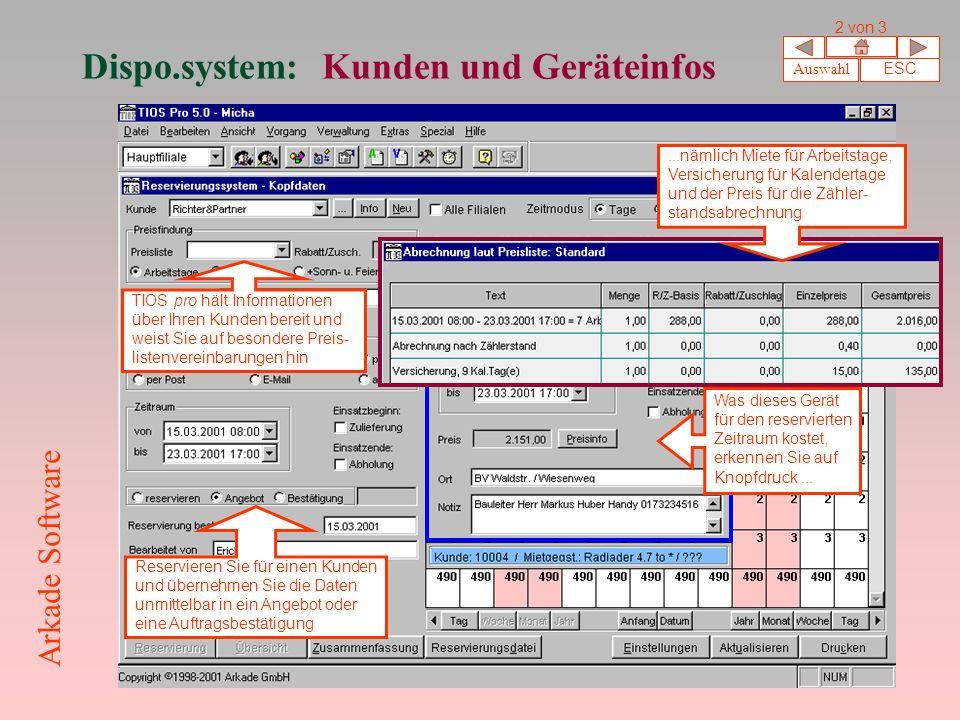 Dispo.system: Kunden und Geräteinfos