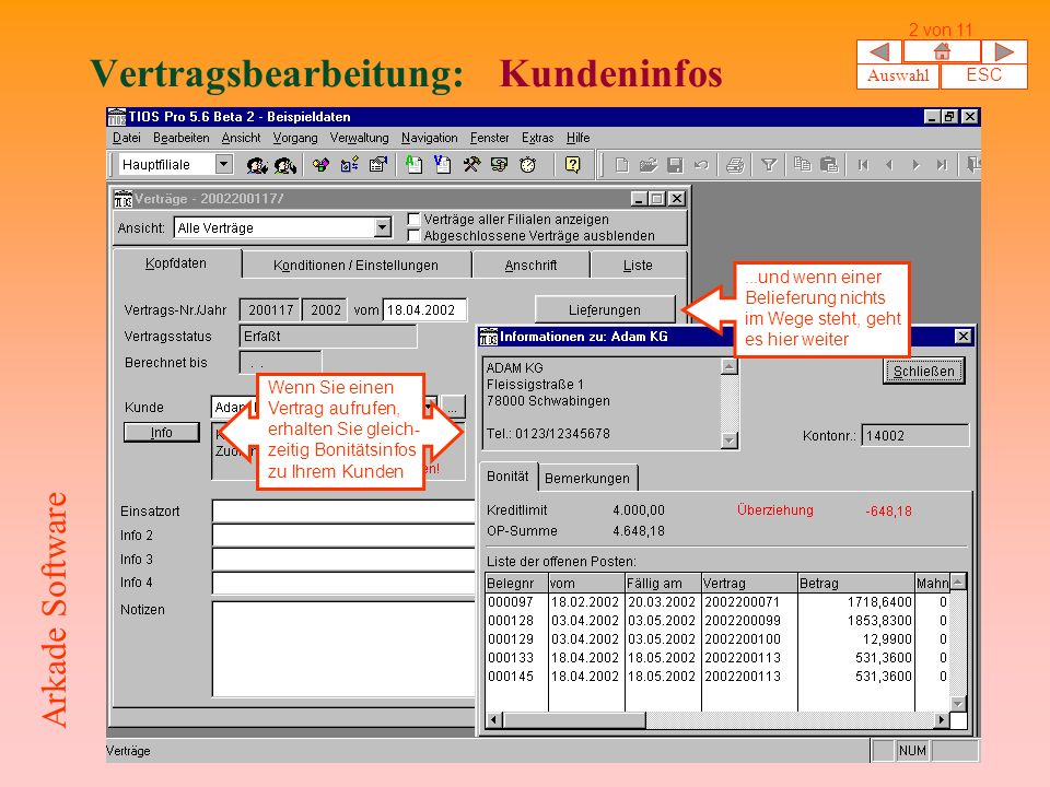 Vertragsbearbeitung: Kundeninfos