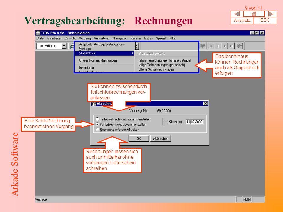 Vertragsbearbeitung: Rechnungen