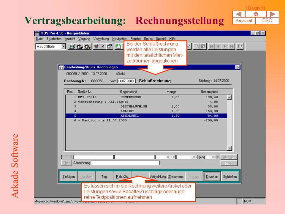Vertragsbearbeitung: Rechnungsstellung