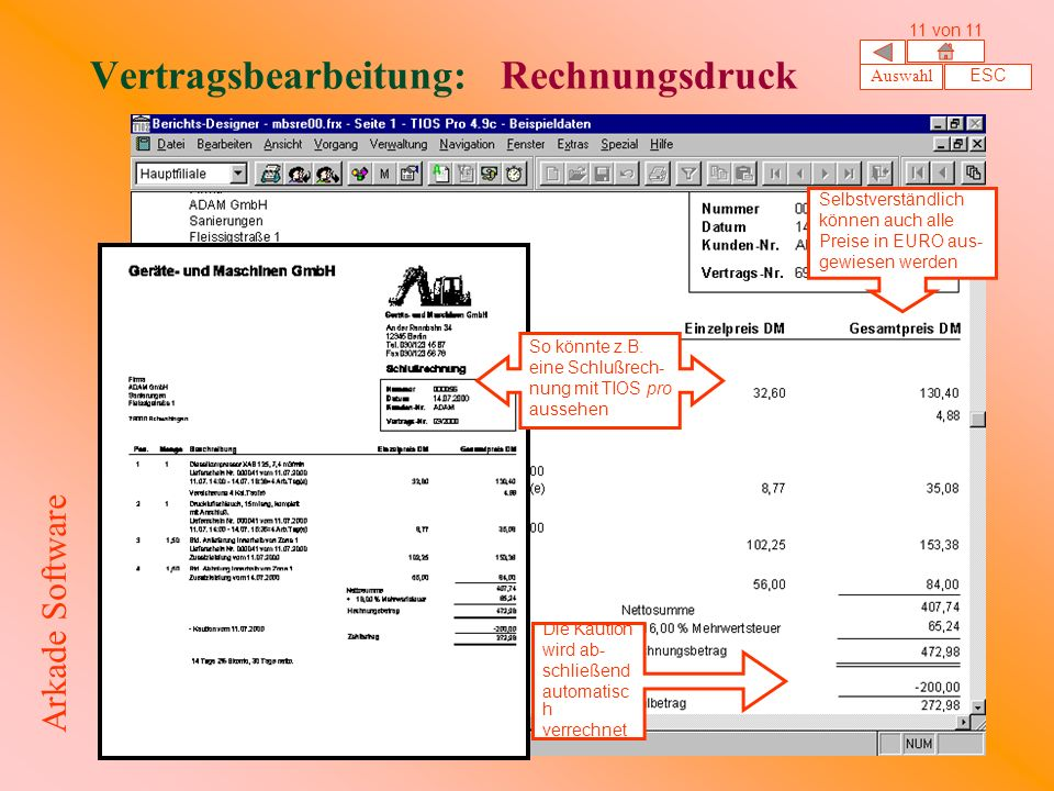 Vertragsbearbeitung: Rechnungsdruck