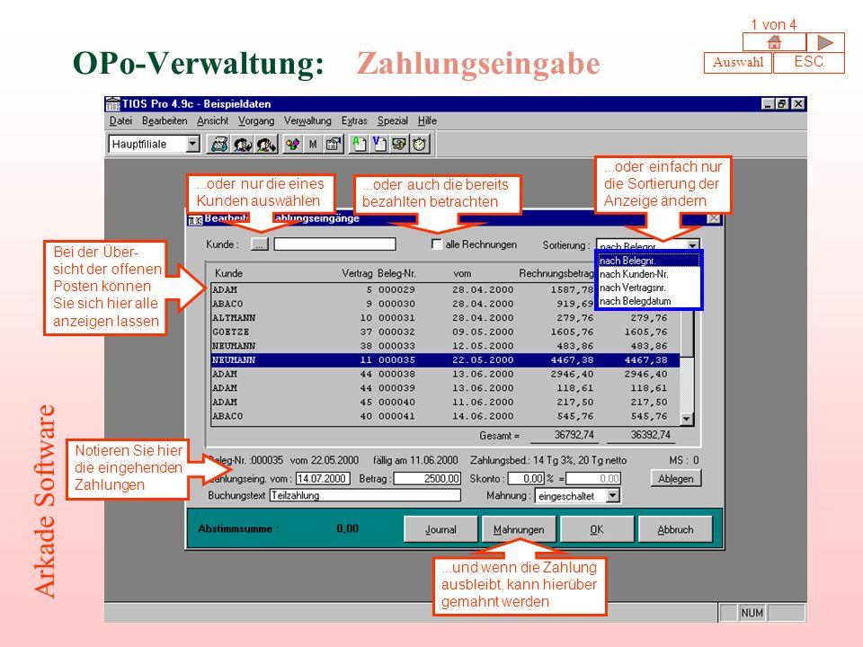OPo-Verwaltung: Zahlungseingabe