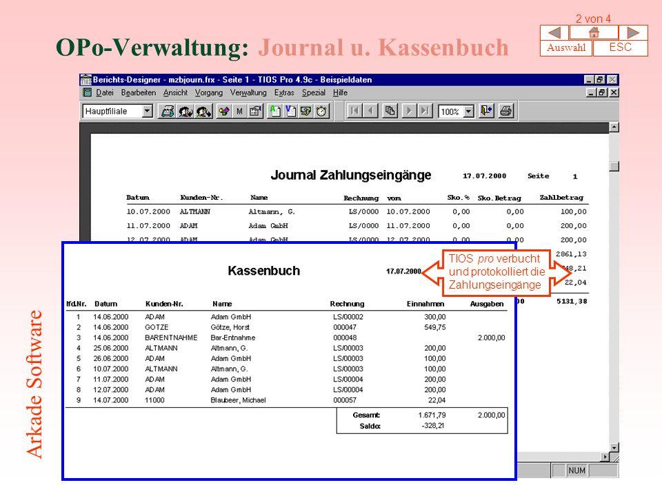 OPo-Verwaltung: Journal u. Kassenbuch