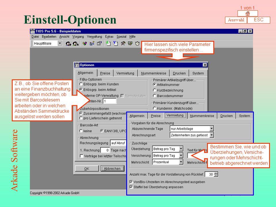 Einstell-Optionen Arkade Software 1 von 1 Auswahl ESC