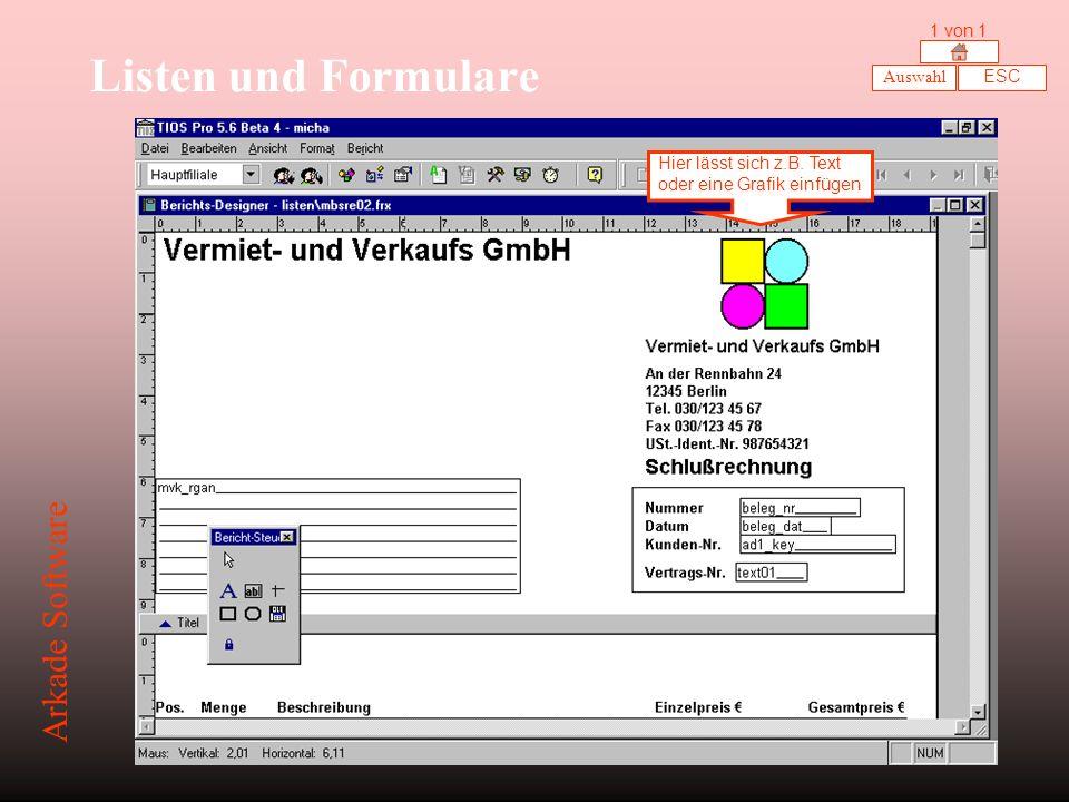 Listen und Formulare Arkade Software 1 von 1 Auswahl ESC