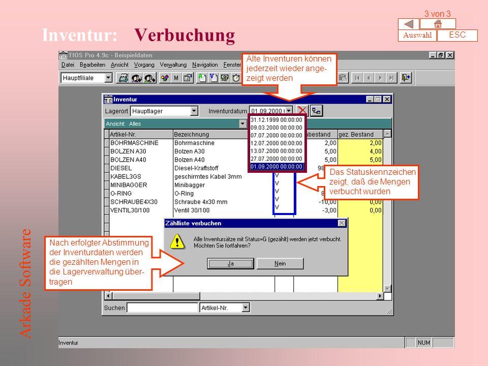 Inventur: Verbuchung Arkade Software 3 von 3 Auswahl ESC