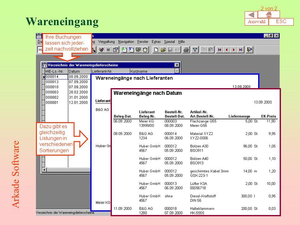 Wareneingang Arkade Software 2 von 2 Auswahl ESC Ihre Buchungen