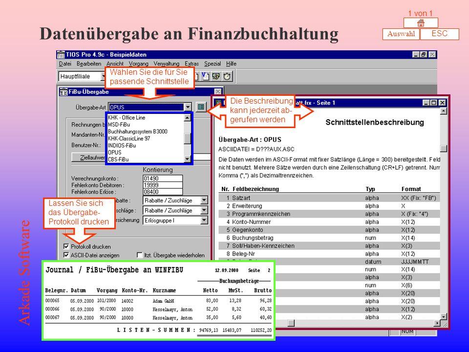 Datenübergabe an Finanzbuchhaltung