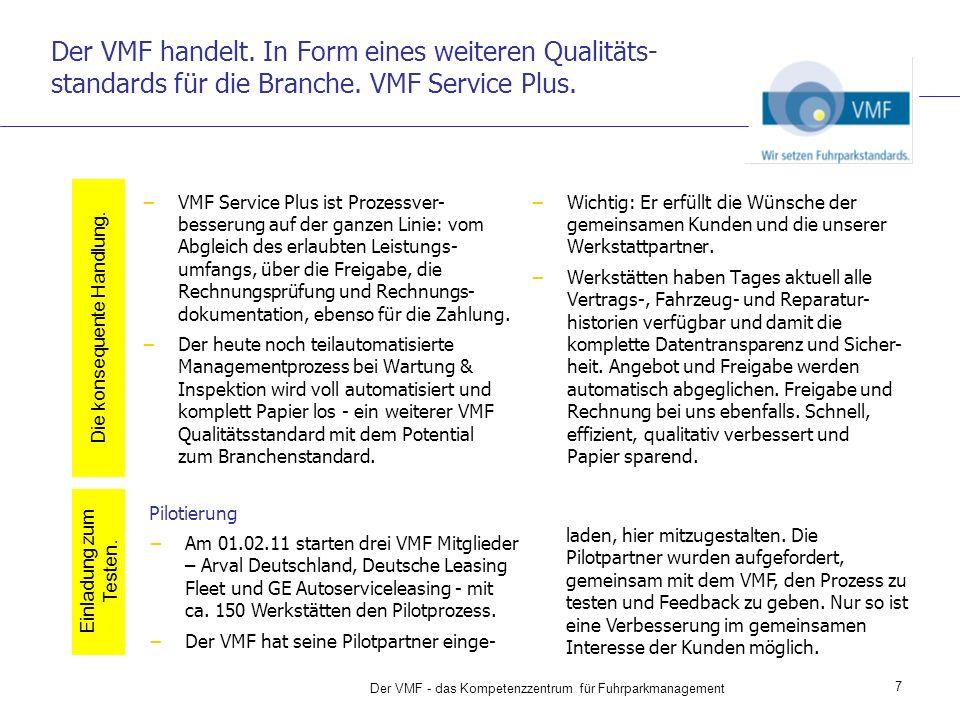 Der VMF handelt. In Form eines weiteren Qualitäts-standards für die Branche. VMF Service Plus.